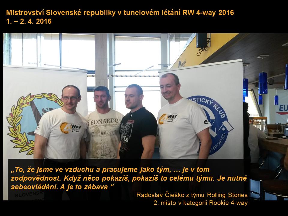 3. ročník Mistrovství Slovenska v tunelovém létání RW 4-way má vítěze